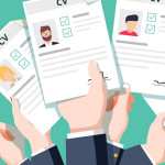 Hands holding cv resume documents. Applying for job. Competition of business man and woman for work career. Apply for jobs concept vector illustration. Employment of candidates